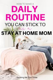 woman laying on bed reading a book with text 'how to make a daily routine you can stick to as a stay at home mom'