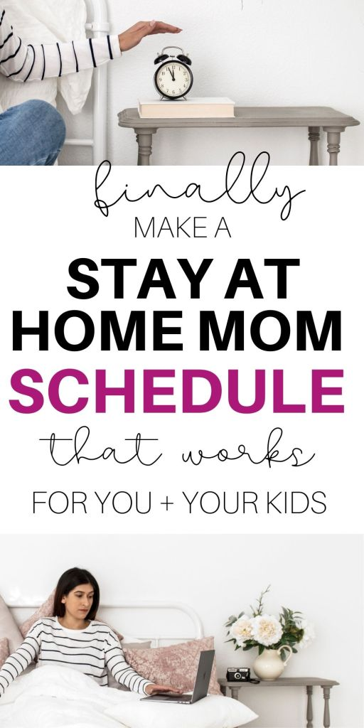 woman in bed and putting a hand to an alarm clock with text 'finally make a stay at home mom schedule that works for you and your kids'