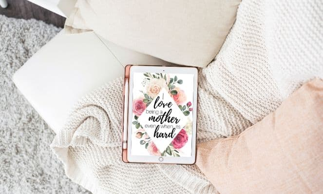 iPad with positive affirmation cards to encourage women to avoid being angry moms