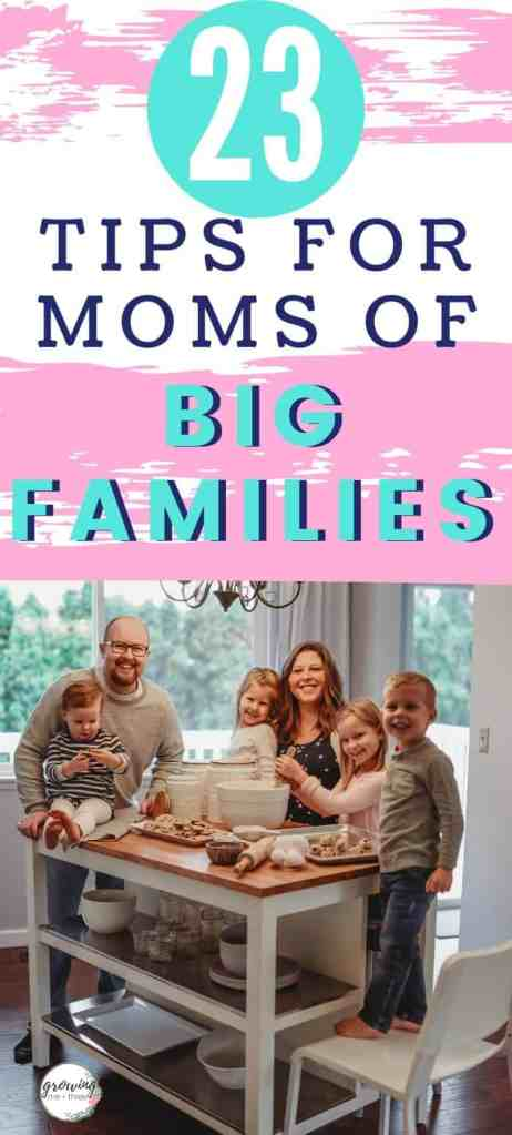 "Pinterest image of large family with text ""23 tips for moms of big families"""