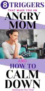 Pinterest image of angry mom on couch with text '8 triggers that make you an angry mom and how to calm down.'