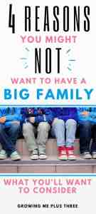 "Pinterst image of a big family of boys with text ""4 reasons you might not ant to have a big family and what you'll want to consider"""