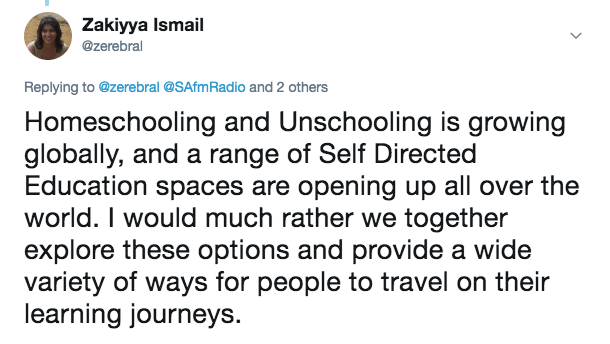 Homeschooling and Unschooling is growing globally, and a range of Self Directed Education spaces are opening up all over the world. I would much rather we together explore these options and provide a wide variety of ways for people to travel and their learning journeys.