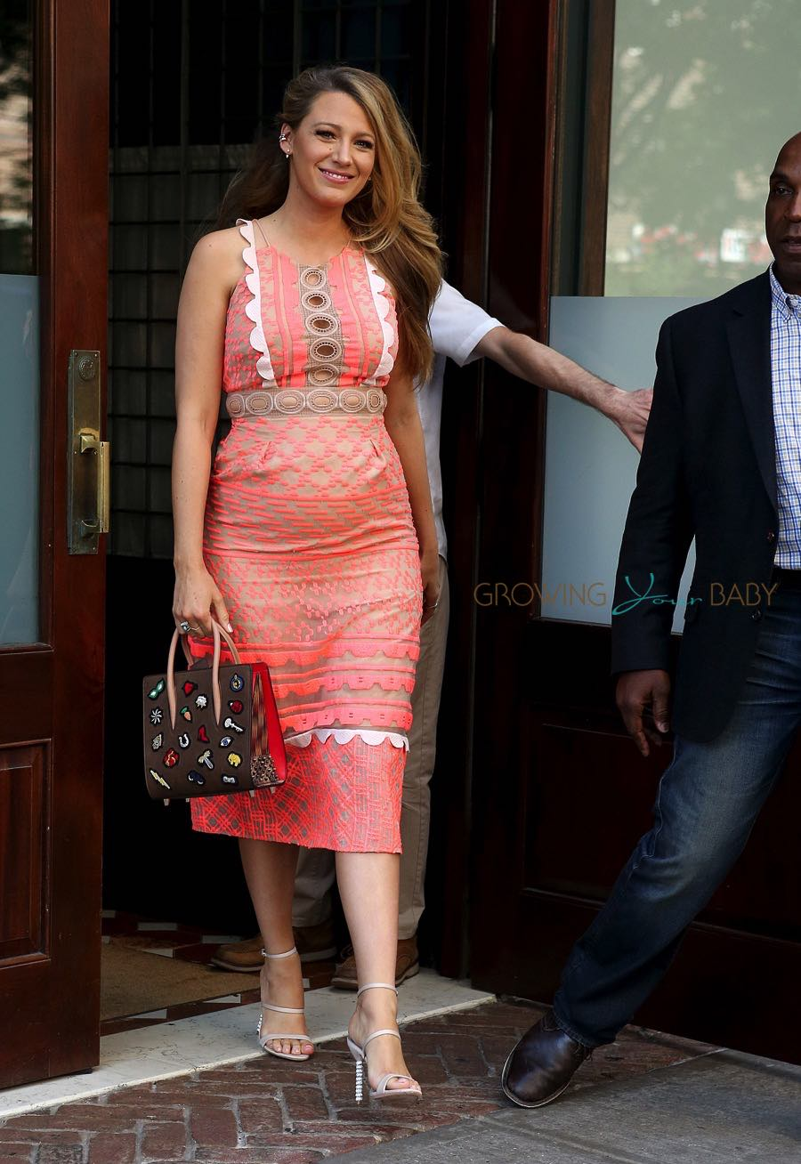 Blake Lively Is Pretty in Peach As She Promotes Her New Movie