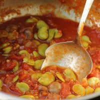 Broad beans in tomato sauce with many spices