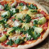 Tomatillo pizza with cilantro pesto