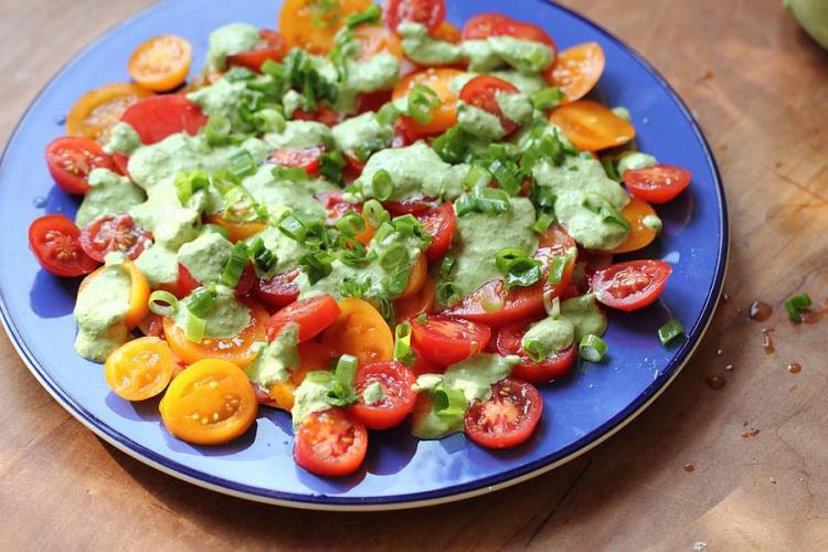 Tomato salad with feta dressing