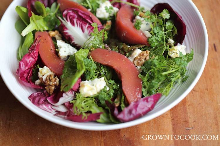 winter greens with quince salad