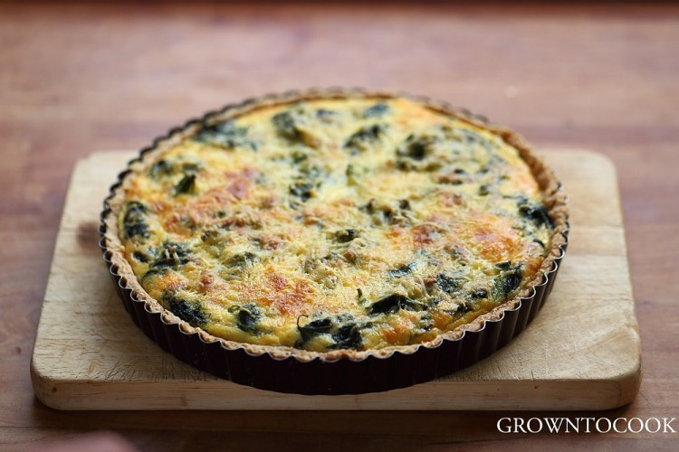 nettle quiche with sesame seed crust