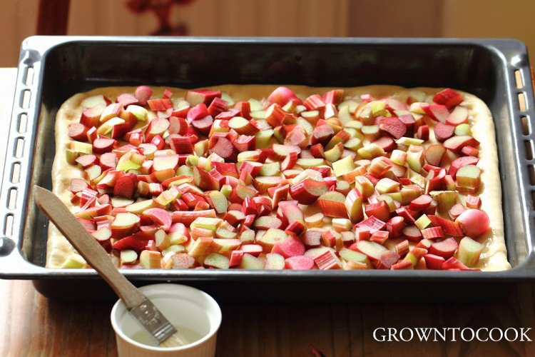 topping with rhubarb