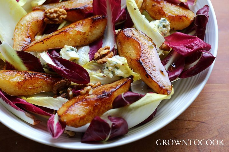 radicchio and chicory with pan roasted pears
