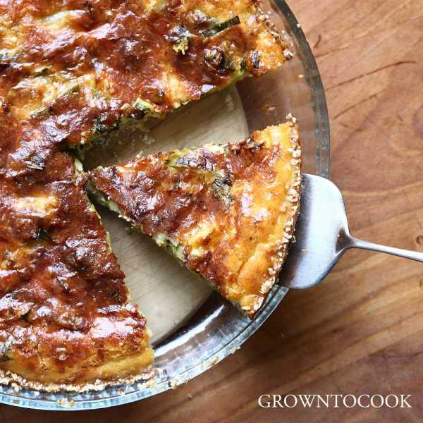 leek tart in buckwheat crust