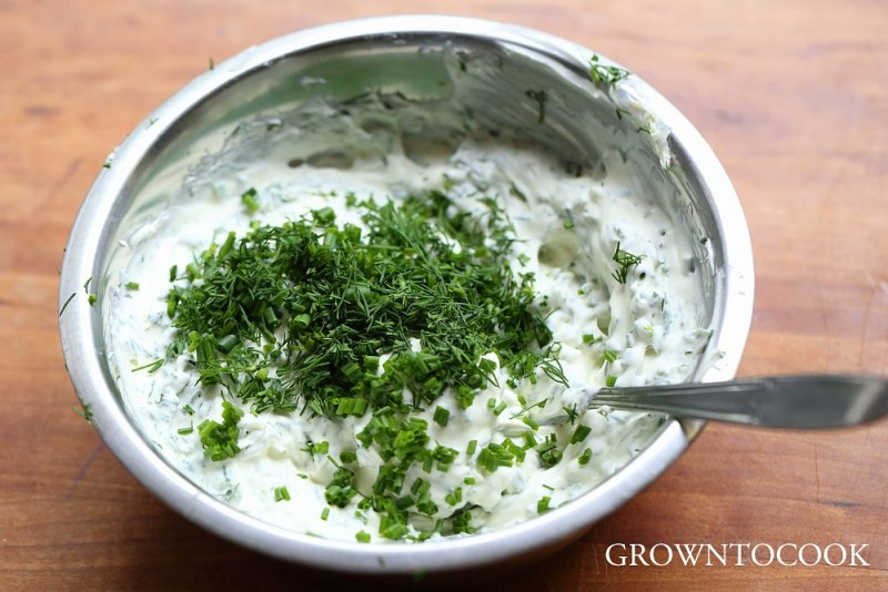 homemade cream cheese with herbs