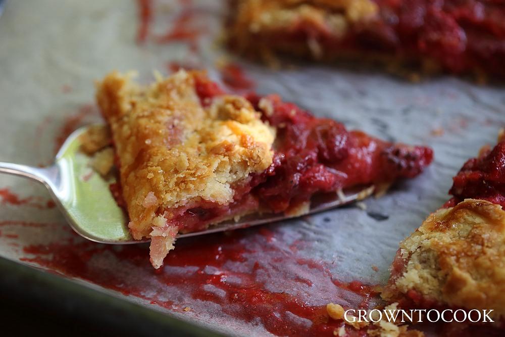 Gooseberry & strawberry galette