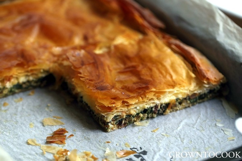 chard and herb filo pie