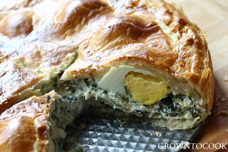 Dandelion and spinach springtime torta