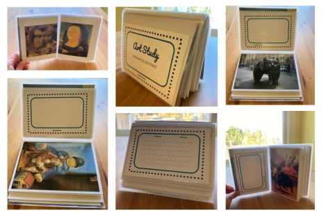 collage of pictures of flipbook with artwork and inserts