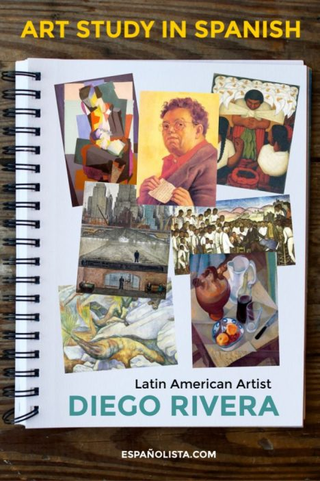 notebook page with pictures of artwork by Diego Rivera