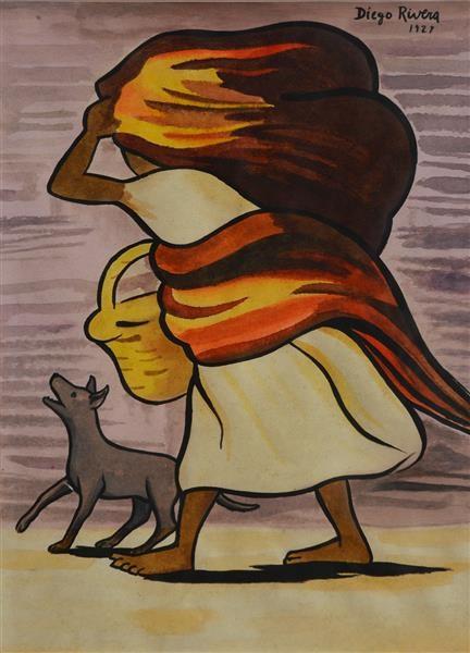 Cargadora con perro - Diego Rivera, 1927