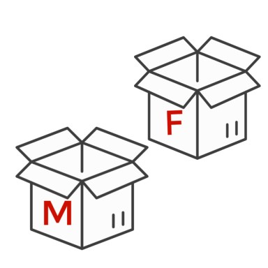 two open boxes one with letter m and other with letter f