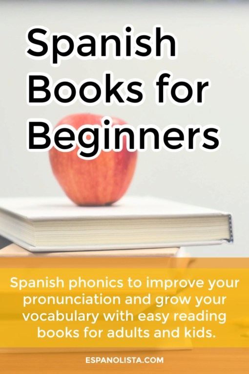apple ontop of book, text spanish books for beginners