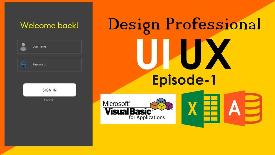 VBA UI UX-1: Build UI using Excel UserForm, Fields with watermark, transparent icons & Buttons