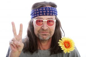 peace signing hippy