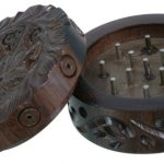 Grinder Rosewood CARVED in legno LEAF