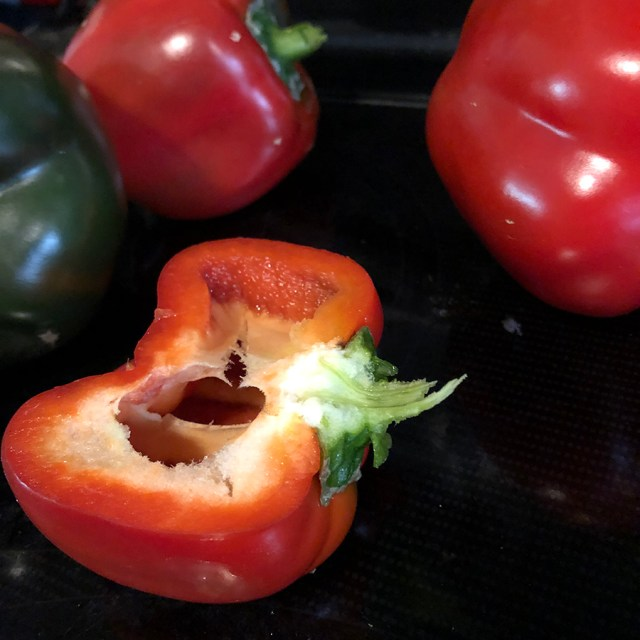 fresh hydroponic red pepper