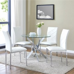 Round Living Room Set Decor Ideas With Brown Furniture Details About Glass Dining Table And 4 White Chairs Faux Leather Modern Chrome Legs