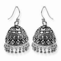 Traditional Type Oxide Finish Silver Jimikki Earring