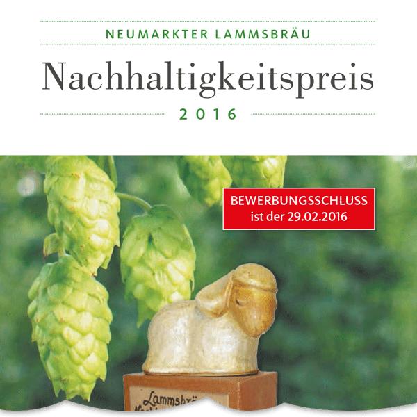 Bewirb Dich auf den Nachhaltigkeitspreis 2016 der Neumarkter Lammsbräu