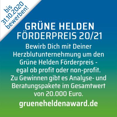 Jetzt bewerben – Grüne Helden Förderpreis 2020