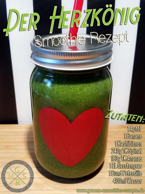 Grüner Smoothie mit Spinat, Petersilie, Gerstengraspulver, Banane, Apfel, Ananas und Nashibirne