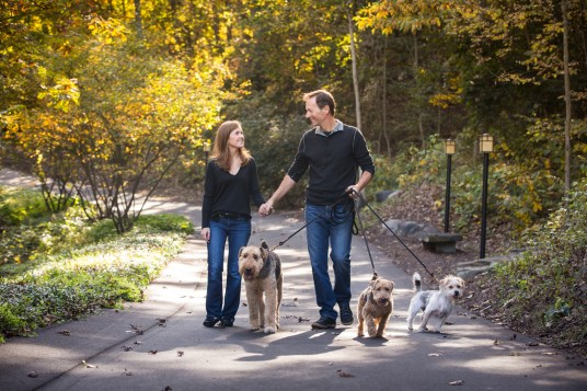 Ada couple walking their dogs, grumpy pups pet photography