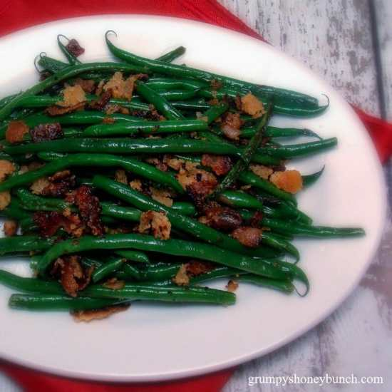 Sauteed Haricots Verts with Bacon and Buttered Breadcrumbs