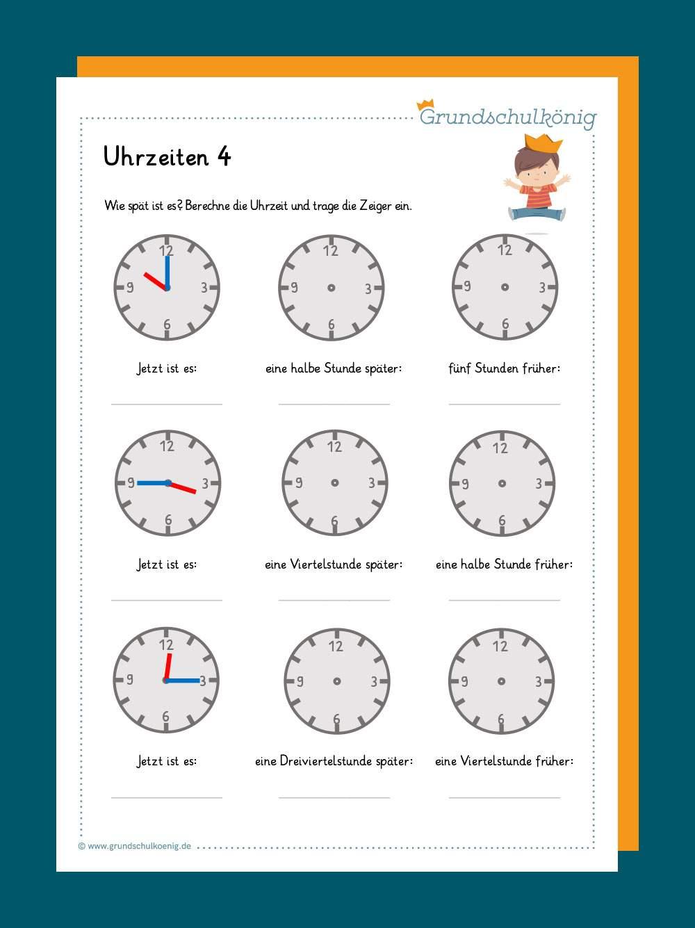 Uhrzeit Lernen Englisch Arbeitsblätter Zum Ausdrucken