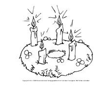 Malvorlagen Weihnachten Adventskranz - Kinder zeichnen und