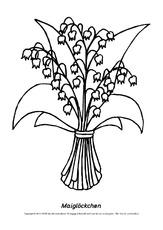 Ausmalbild-Maiglöckchen-2 - Ausmalbilder Blumen - Frühling