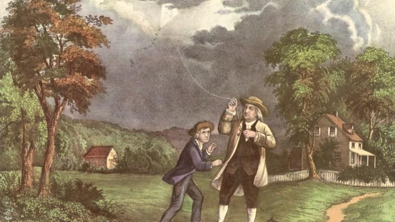 Benjamin Franklin and son flying kite in storm