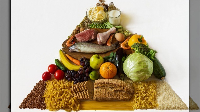 Food stacked in classic food pyramid