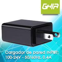MINI CARGADOR DE PARED USB A MICRO USB GHIA 100-24V 50/60Hz 0.4A NEGRO EN BOLSA