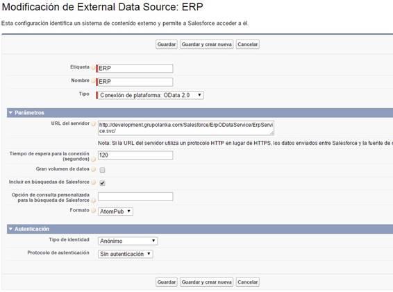 fuente de datos externa salesforce crm