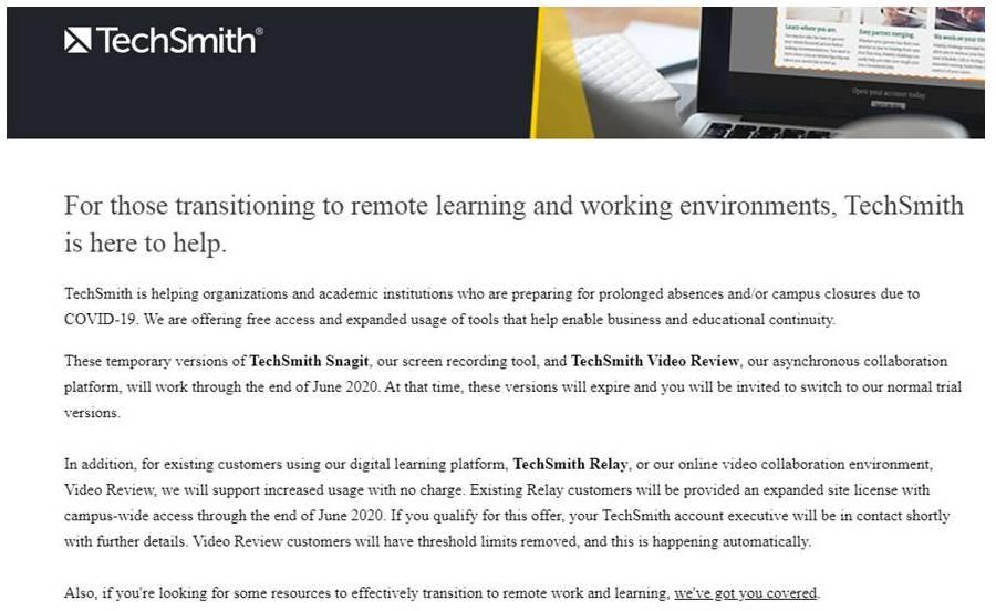 TechSmith- Herramientas Gratis para Diseñadores en Tiempos de Covid-19