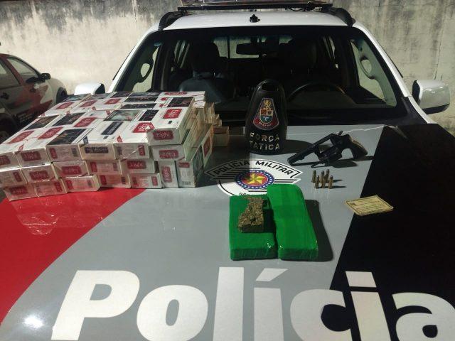 Força Tática com apoio da ROCAM e Canil da PM faz apreensão de drogas e posse ilegal de arma de fogo em Rio Claro