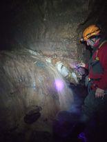 Individuazione del tracciante all'interno della grotta.