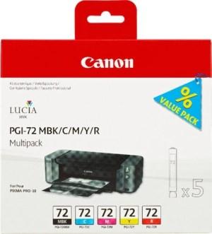 Canon PGI72 Pack de 5 Cartuchos de Tinta Originales - Negro Mate. Cyan. Magenta. Amarillo. Rojo - 6402B009
