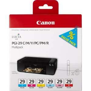 Canon PGI29 Pack de 6 Cartuchos de Tinta Originales - 4873B005