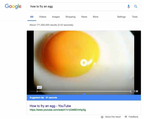 fried egg current featured snippet