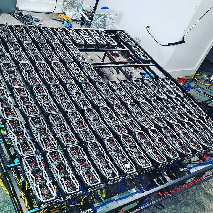 Cryptocurrency excavator with 78 RTX 3080 cards. The investment will pay off in 7 months